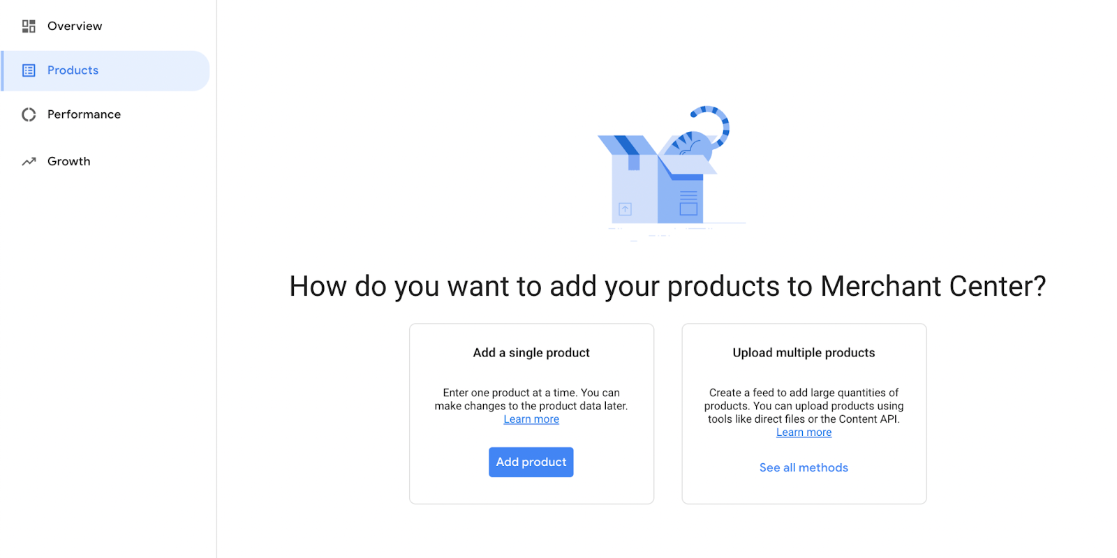 Add a single product or upload multiple products.