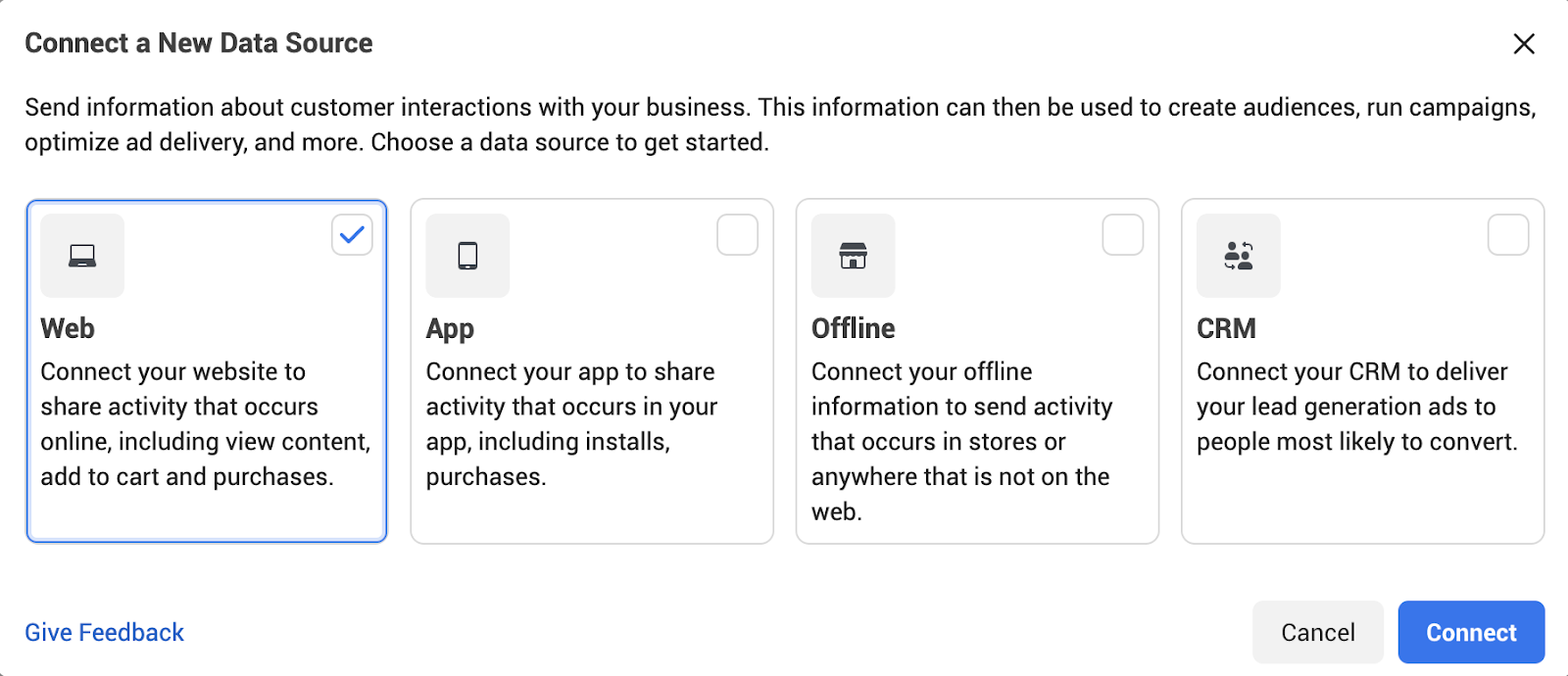 Connect a new data source in Facebook Event Manager
