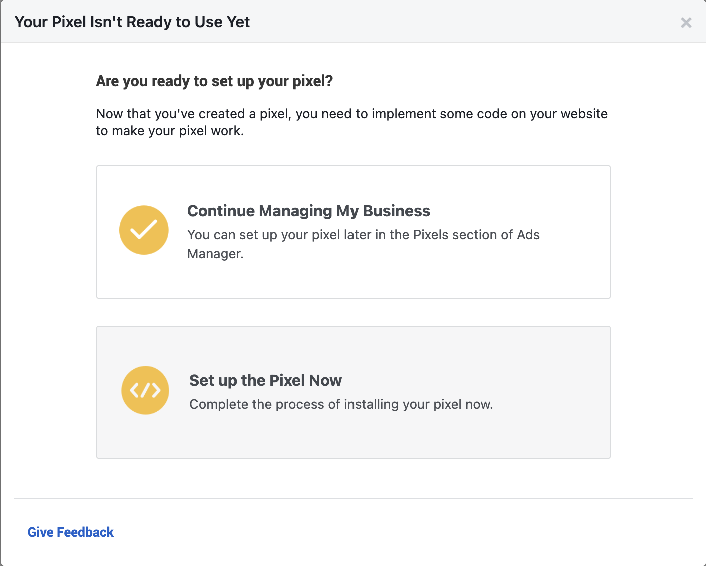 Setting up Facebook Pixel