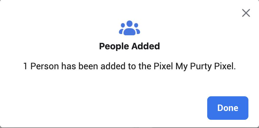 People Added to Facebook Pixel completes Pixel setup