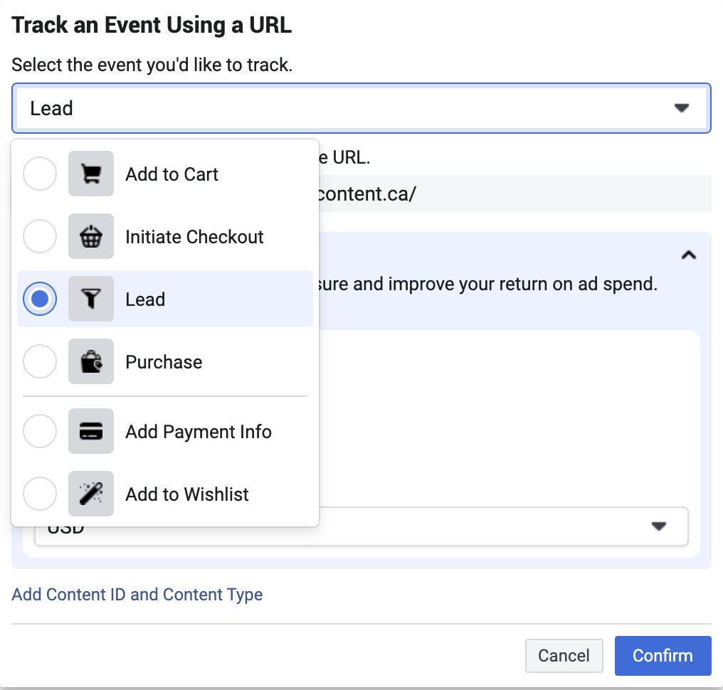 Select up to 8 events you want to track on your site