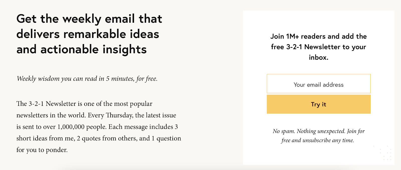 The sign up prompt for James Clear's newsletter.