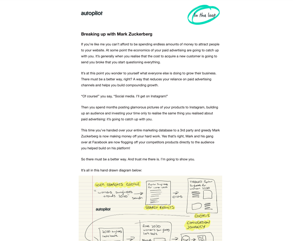 A plain text email from Autopilot with effective messaging.