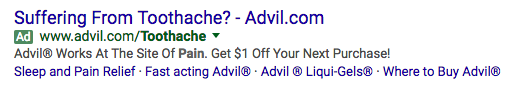 """The ad copy offers immediate relief with """"works at the site of pain"""""""