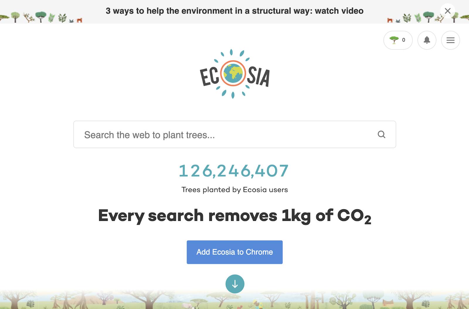 Eco-friendly Ecosia Search Engine