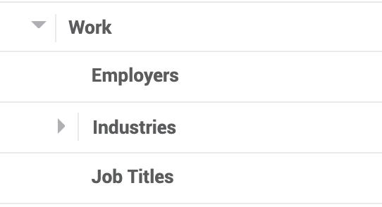 Facebook demographics, work