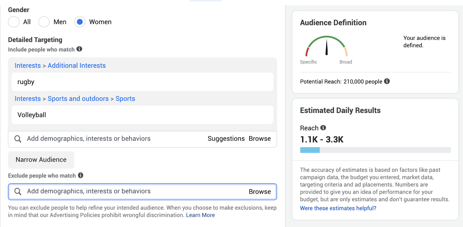 Audience target sizes