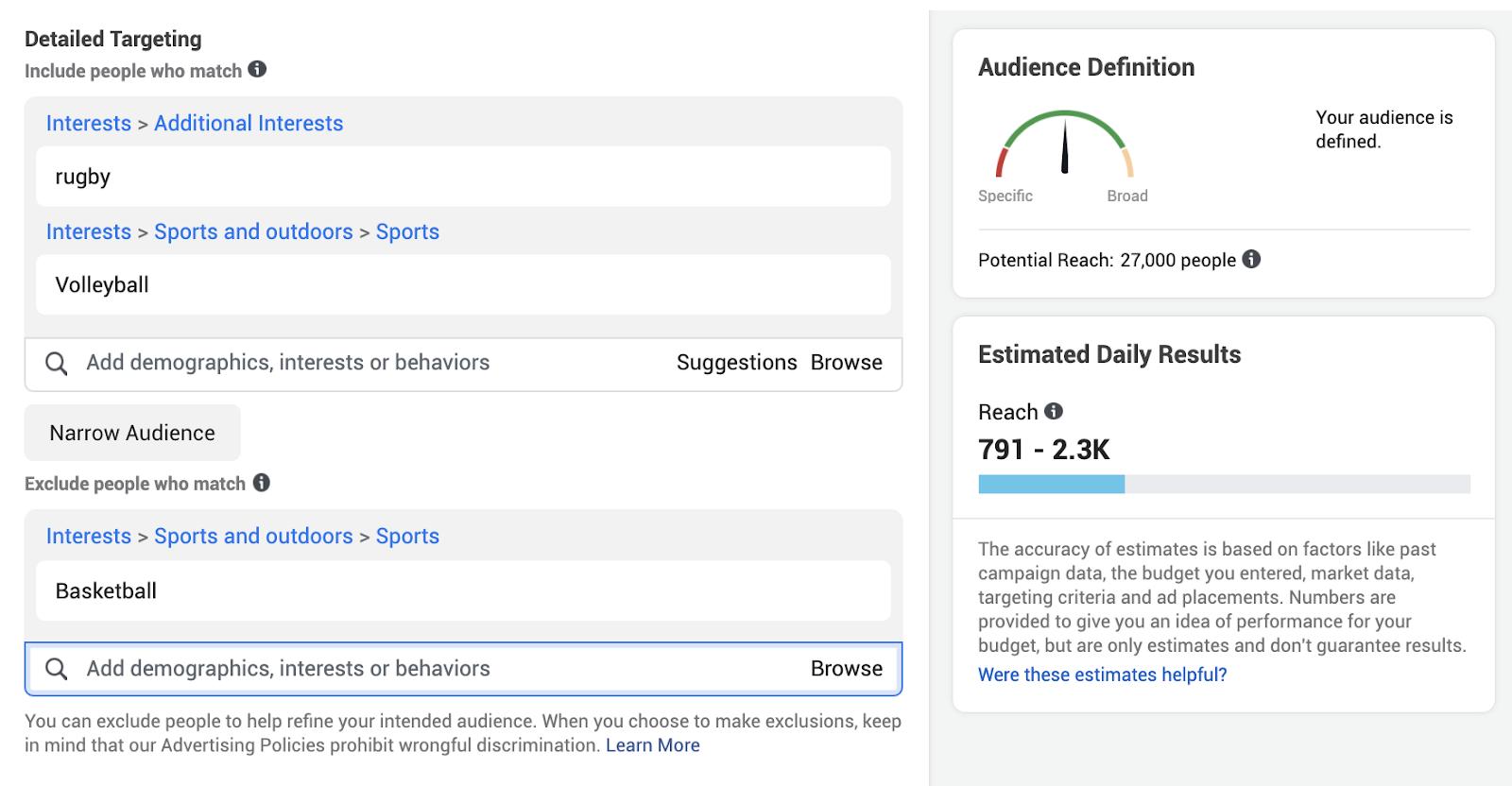 Detailed targeting sports