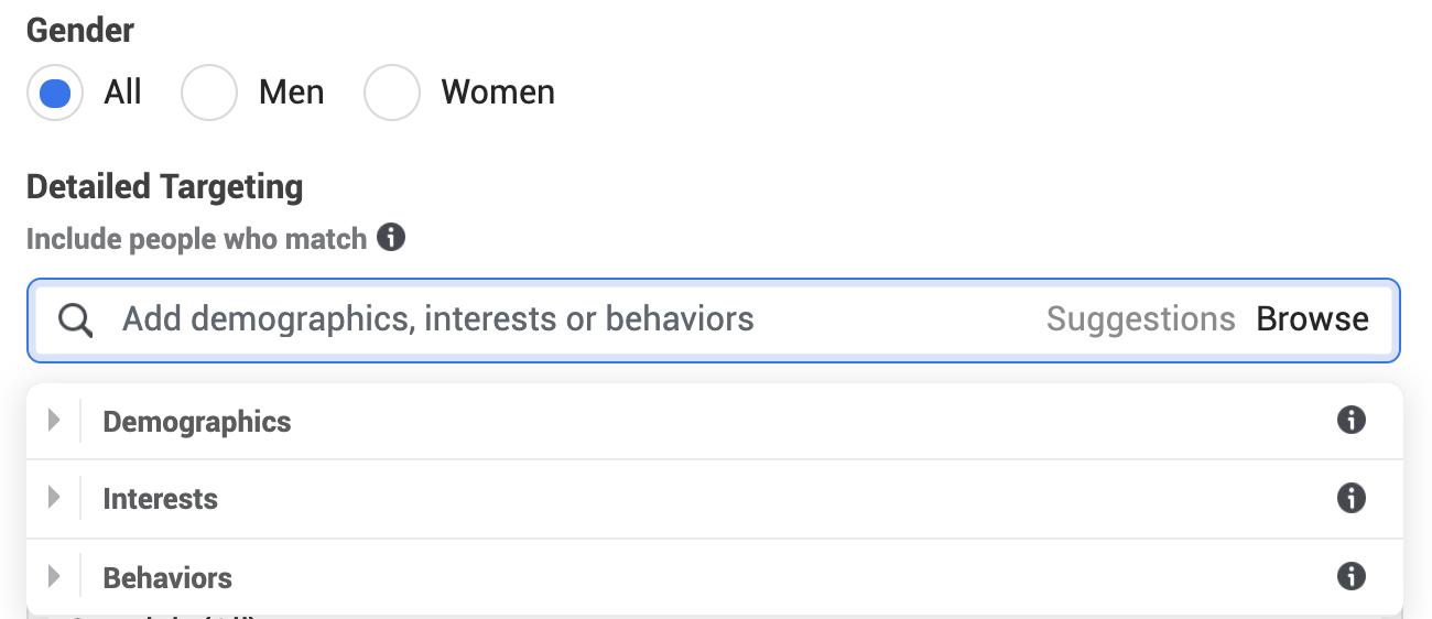 Detailed targeting categories: Demographics, Interests, and Behaviors