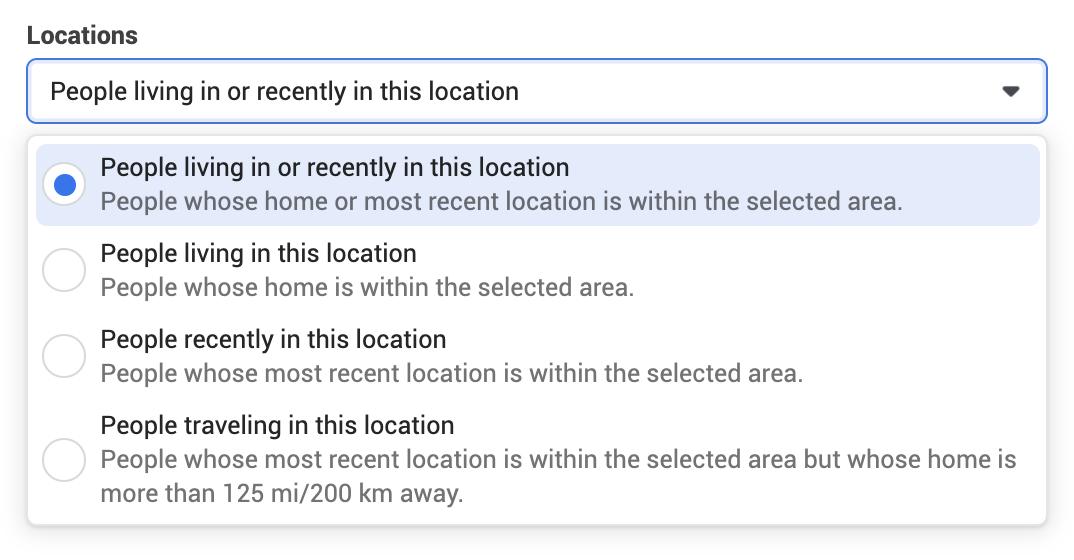 Facebook locations