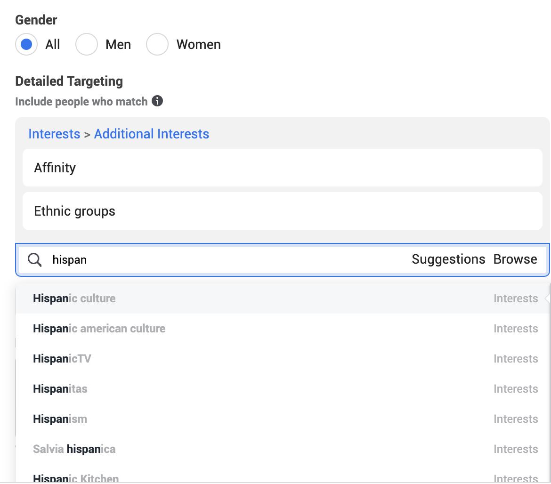 Facebook affinity, ethnic groups