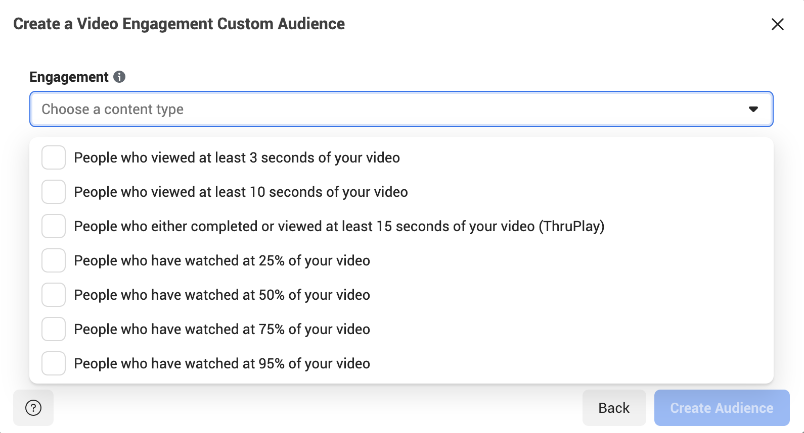 Facebook video engagement audience