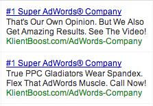 Unusual ad copy