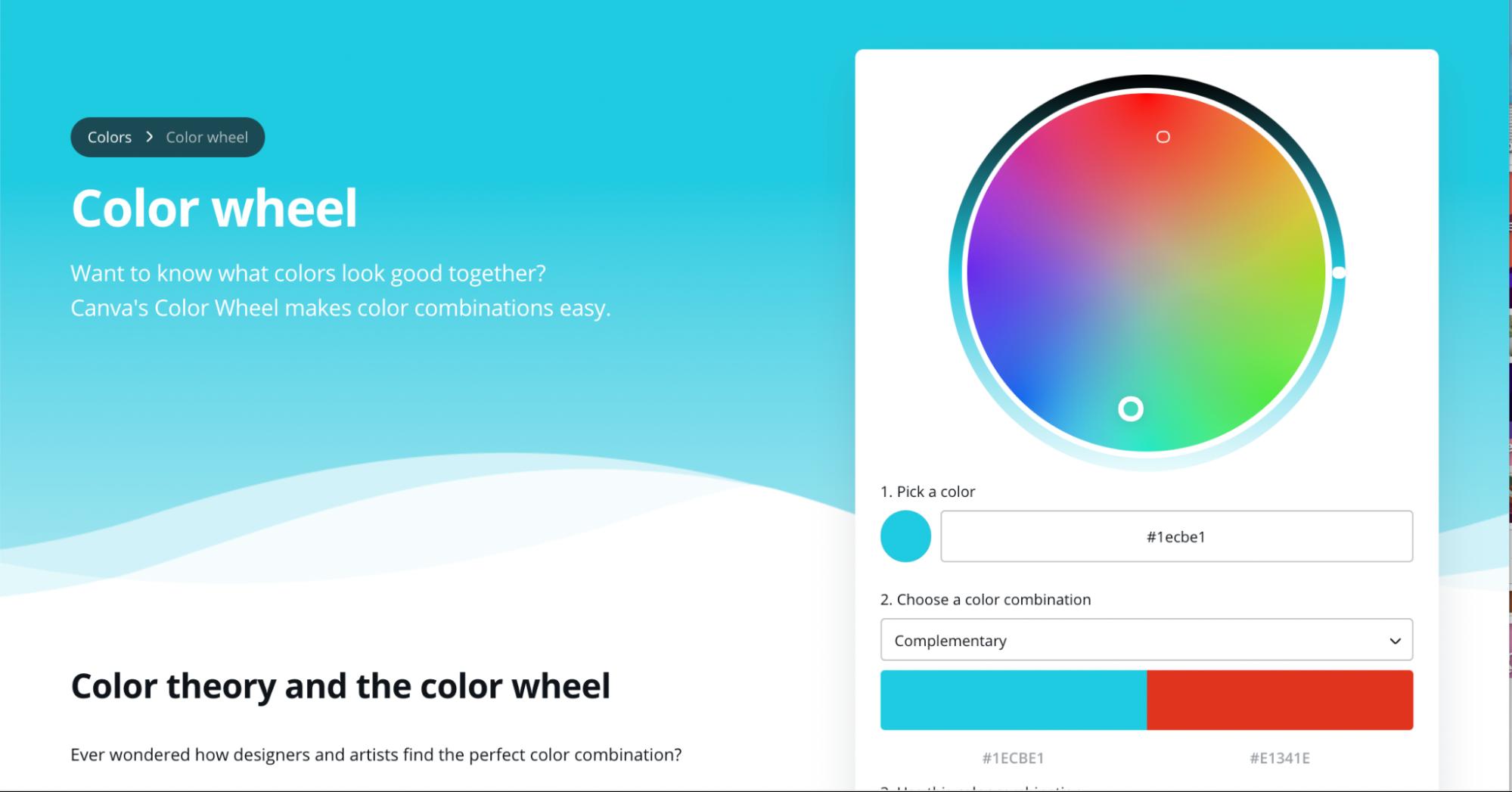 landing page optimization - canva color wheel