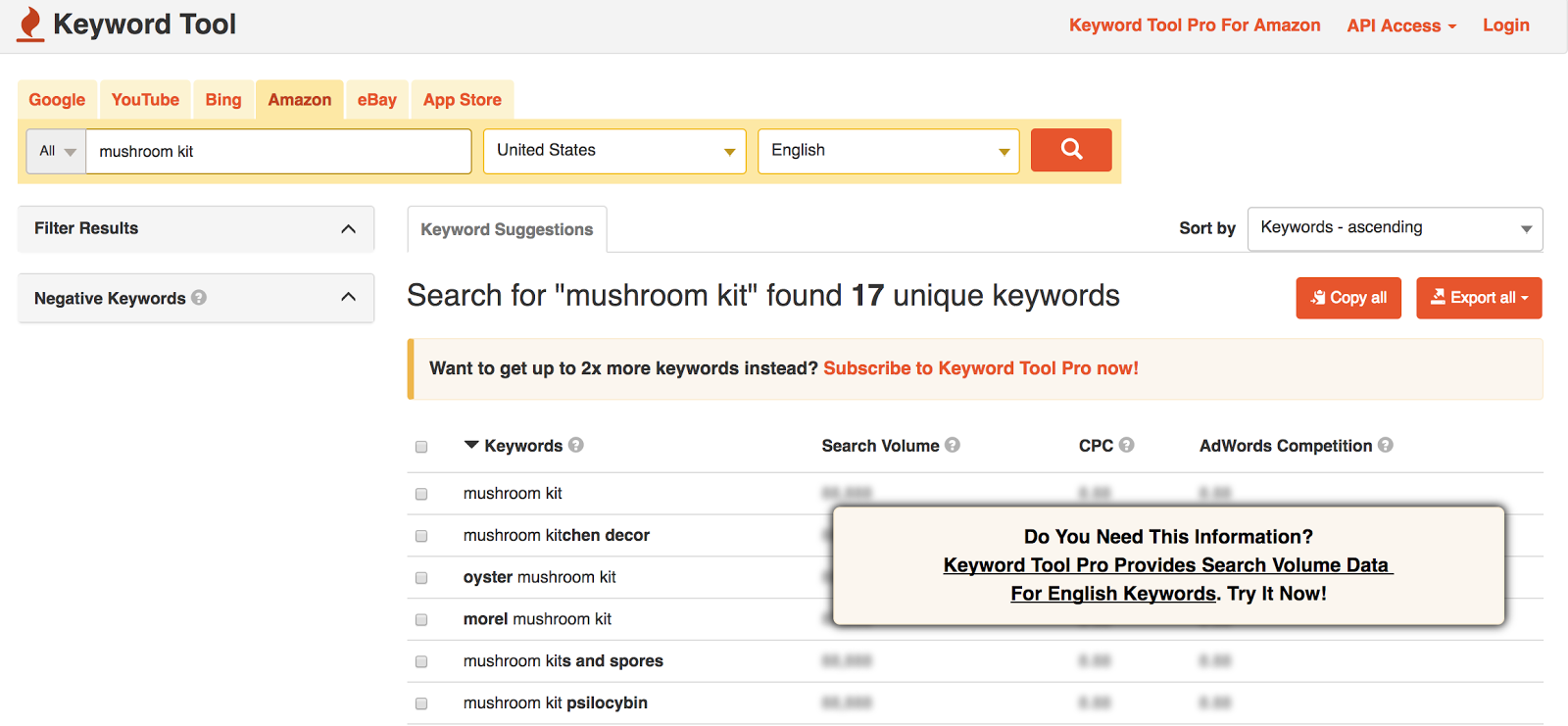 Keyword Tool: Everything you need to get started and full data with a pro plan