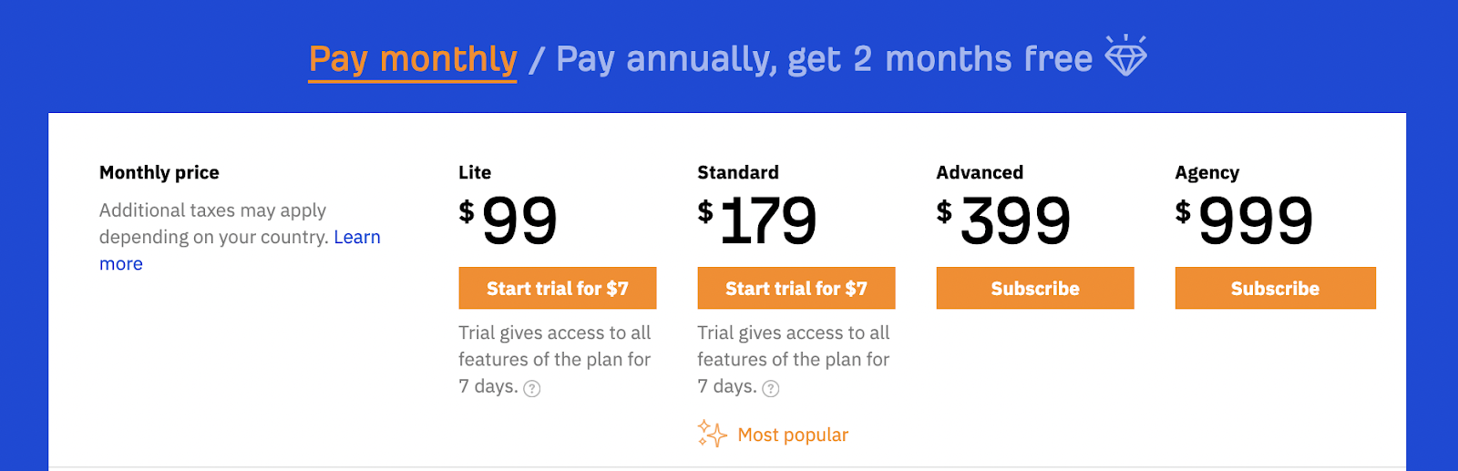 Ahrefs plans aren't the cheapest in the toolkit. Not the most expensive either
