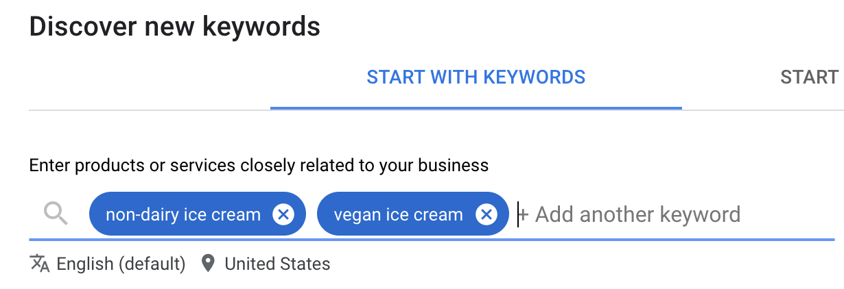 Enter in your keywords into the GKP