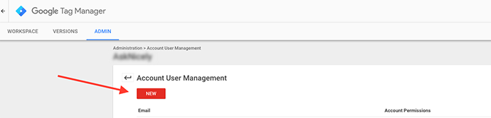 """Google Tag Manager """"New"""" red button."""