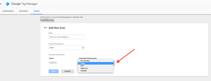 Google Tag Manager access permissions