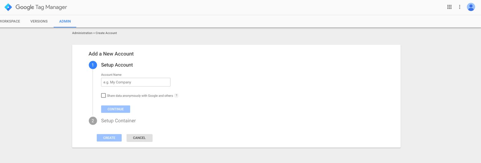 The account setup screen
