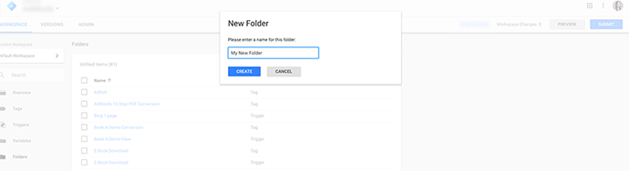 Add in a name for the new Folder.
