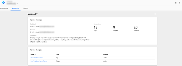 Google tag manager version changes
