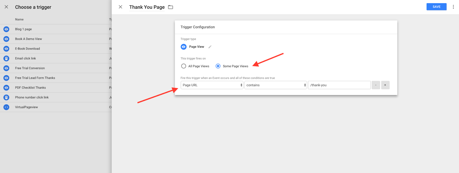 If you don't want your tag to fire on all pages, you'll define the pages here.