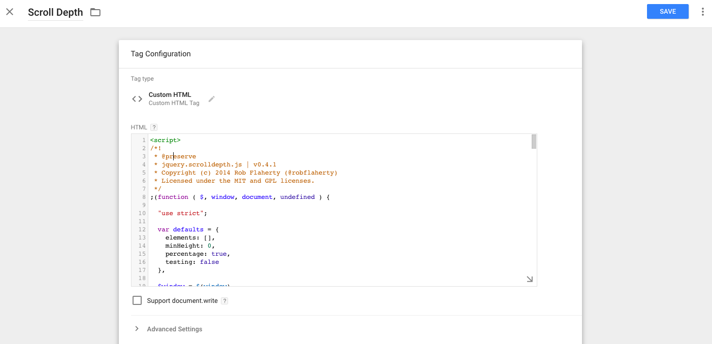 Add the code you see in the scrolldepth.js file to the HTML notepad in GTM.