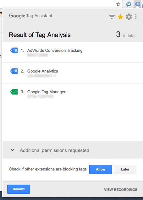 There's a conversion tracking tag, GA tag, and GTM added to this page.