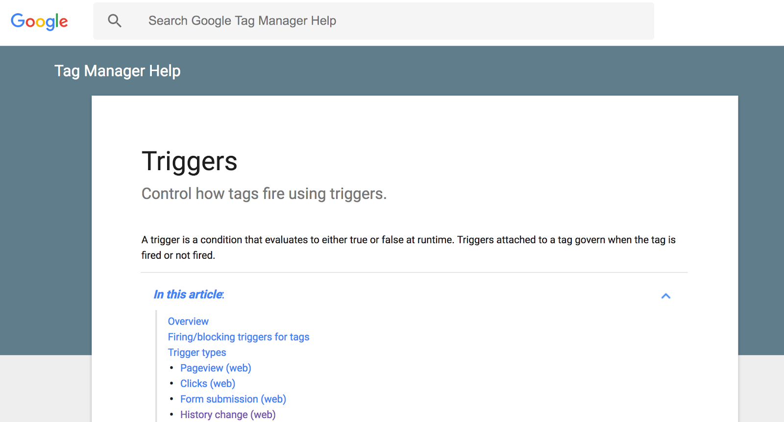 The Tag Manager Help page