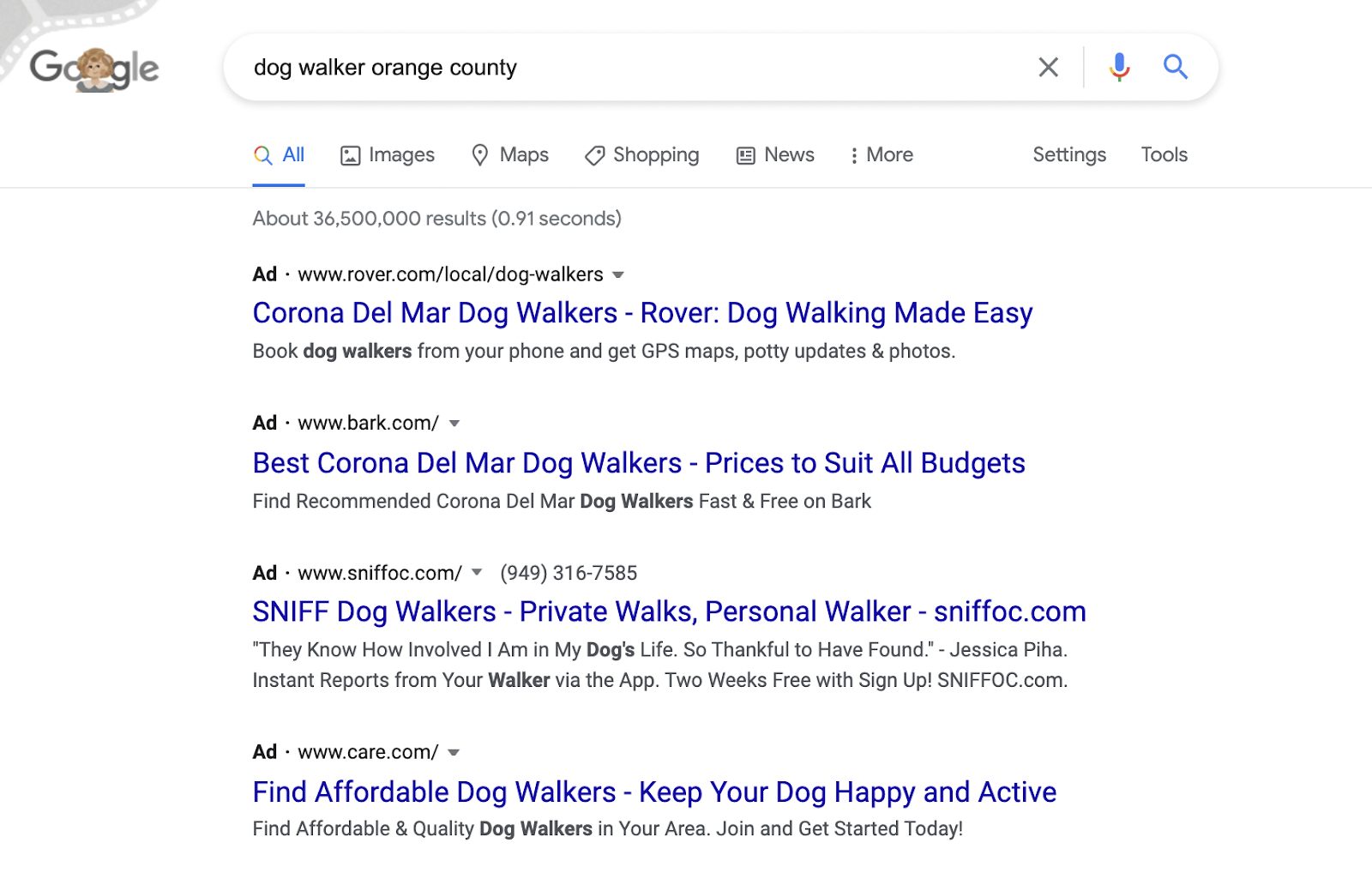 A good top of funnel ad copy example for dog walker PPC ads.