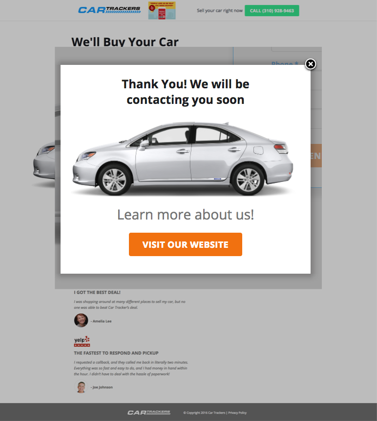 Thank Your Pop-Up Provides Confirmation and Next Steps