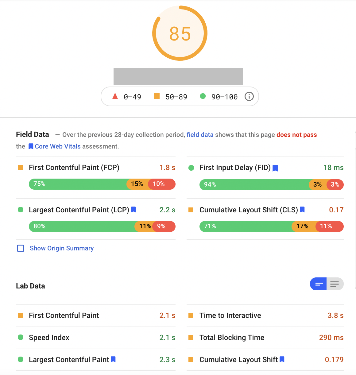Example of PageSpeed Insights