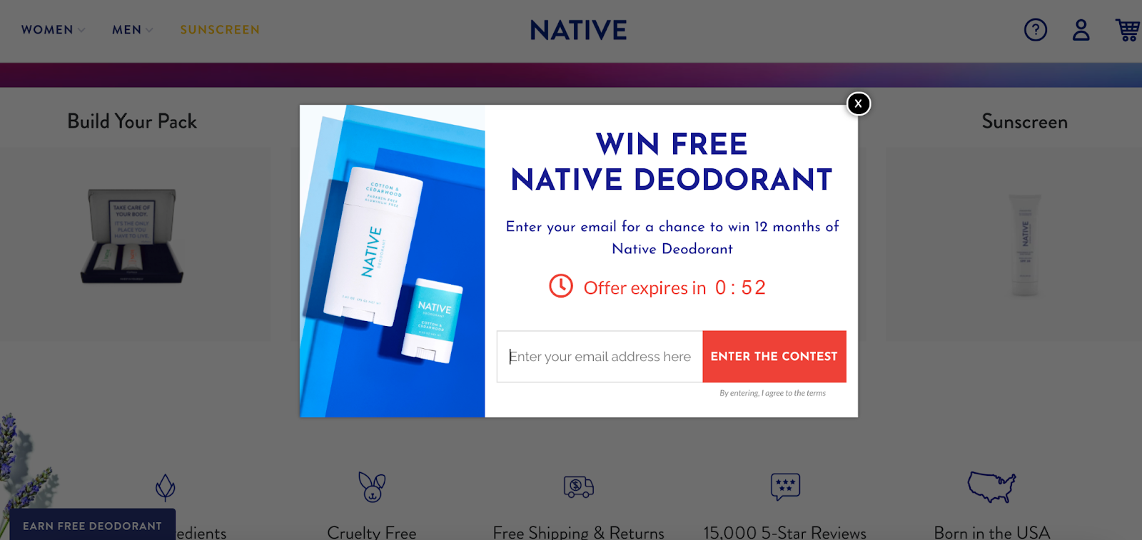 Win 12 months of Native Deodorant.