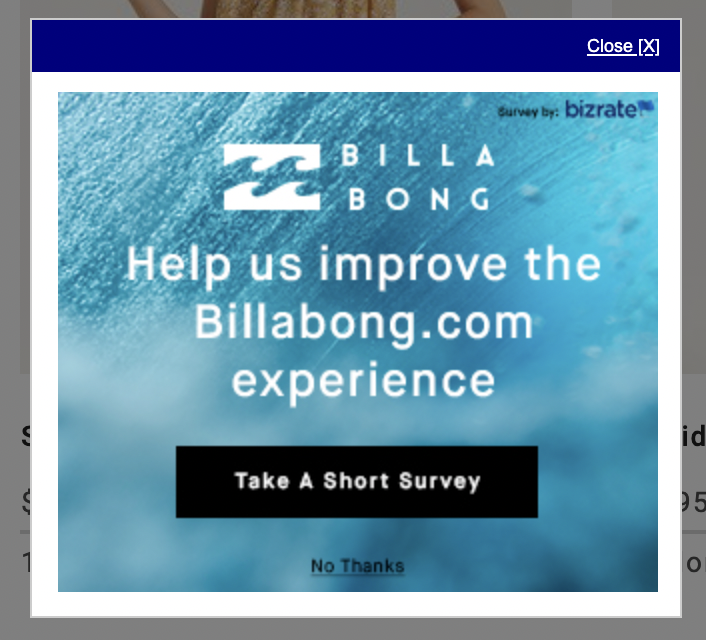 Billabong is gathering feedback about their website.