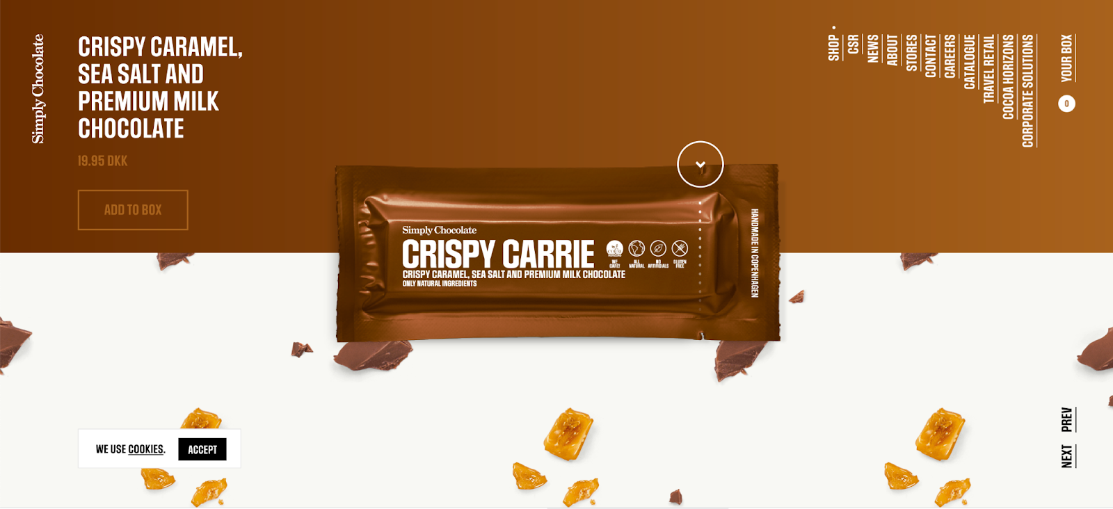 Simply chocolate: When you scroll down, the menu shrinks and the ingredients subtly scroll up featuring the first bar option. Mmmmm.