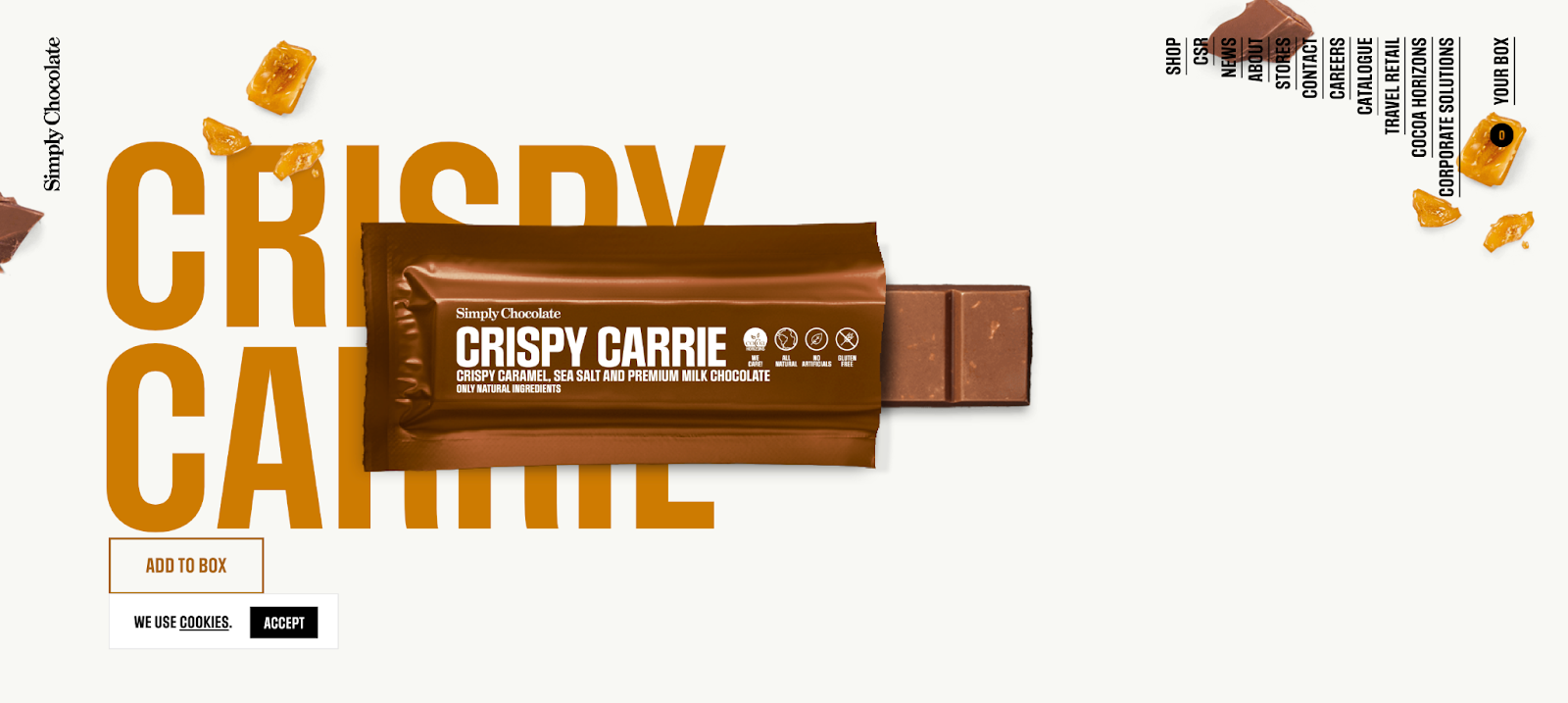 Simply Chocolate: The product unwraps when you click on it and then scroll.