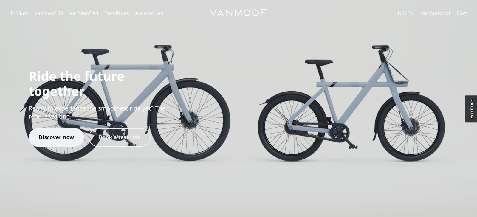 VanMoof hero section is a short, amazing, looping animation of e-bike features