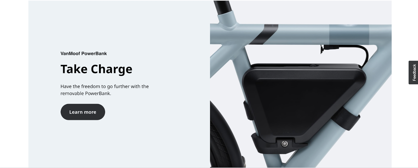 An e-bike with a removable power bank. Makes sense, I think? Learn more as a CTA works here.