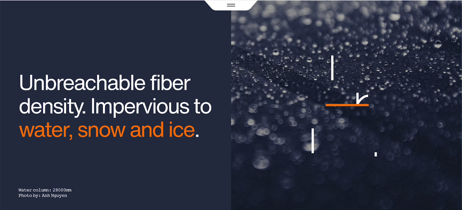 Subtle animations play on split screens that highlight product tech