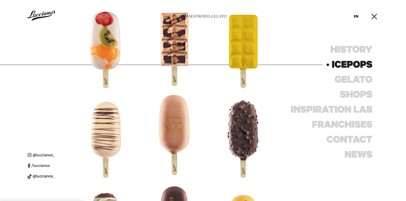 Every ice pop you can choose scrolls up continuously in the Lucciano's navbar