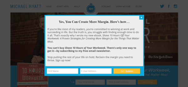 The only way to get Michael Hyatt's ebook is by entering your email.