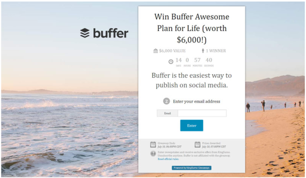 Buffer: Use an incentive to get subscribers.