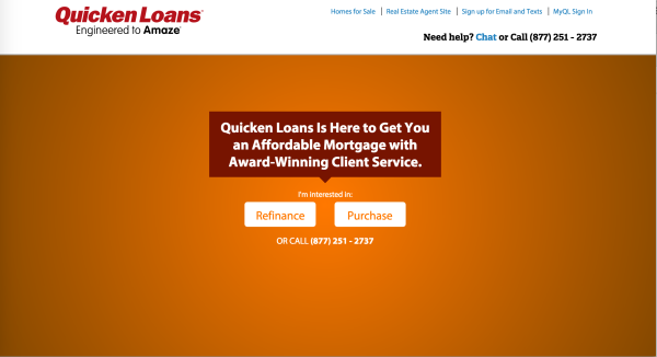Quicken Loans: With only two options, you find what you need very quickly.