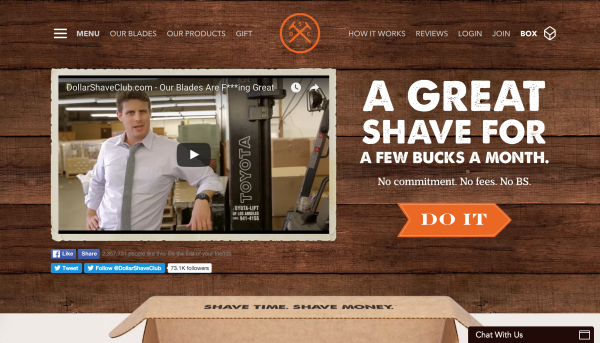 Try using an explainer video like Dollar Shave Club on your landing page