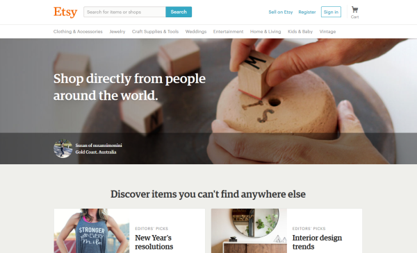 Etsy's landing page is all about what the customer wants.
