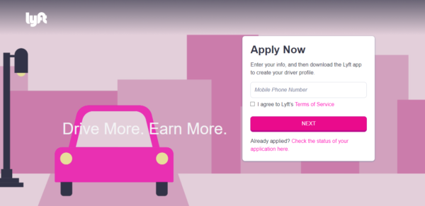 """Lyft landing page: The image is a simple car with the words """"Drive more. Earn more."""""""