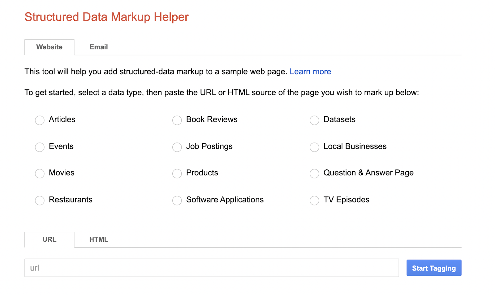 50 SEO Tools - Structured data markup helper - start tagging