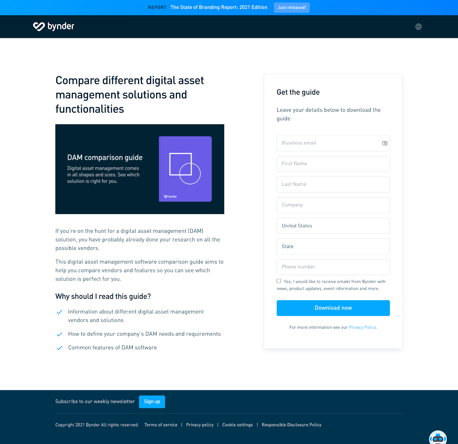 B2B Landing Pages - bynders landing page