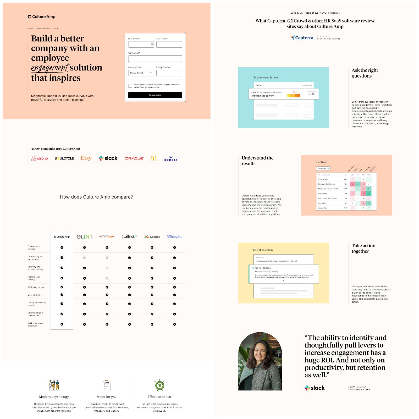 B2B landing pages - culture amp